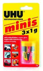 Vteřinové lepidlo UHU Super Glue Mini - 3×1 g