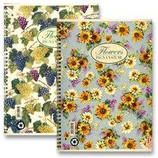 Pigna Nature Flowers kroužkový blok - A4, linkovaný