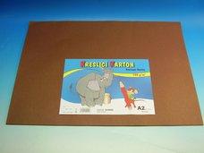 Kreslící karton A2/10ks hnědý 180 g