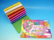 Blok barevných papírů 8 ks, BROKÁT