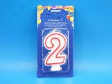 """Svíčka """"2"""" dortová 75 mm"""