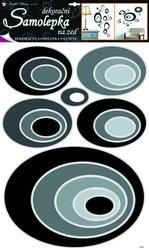 Samolepící pokojová dekorace elipsy černé 70x42cm