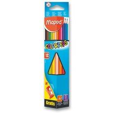 Pastelky MAPED Color´Peps, 12 barev, ořezávátko zdarma