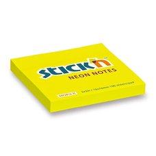 Samolepicí bloček Hopax Neon - 76 × 76 mm, žlutý