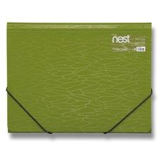 FolderMate Tříchlopňové desky s gumou Nest - A4, oivově zelená