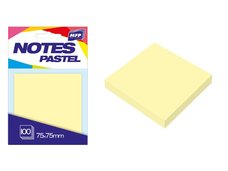 Bloček samolepící 75x75mm 100 listů žlutý pastelový