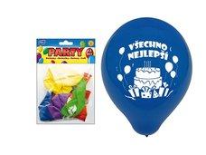 Balónek nafukovací M standard 12ks sáček 23cm Všechno nejlepší mix