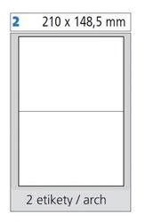 Print etikety 210x148,5 mm, bílé samolepící, 100 listů